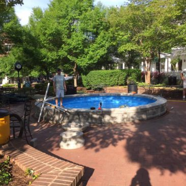 Installation of an estate fountain at a Lake Norman luxury apartment complex
