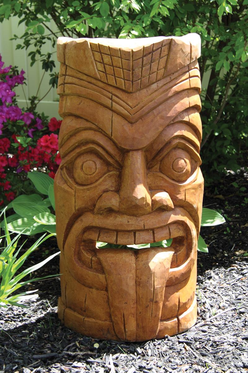 ″ laughing tongue tiki face white house gardens