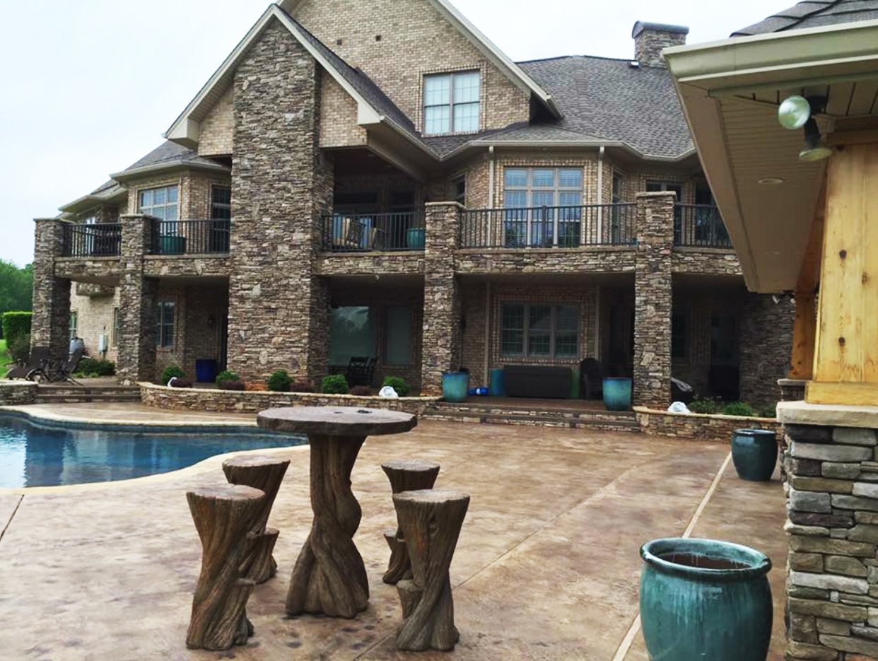Glazed pottery (ground and balcony) and Banyan Hi-Top Table Set installation at a beautiful private residence in Statesville, N.C.