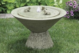 Funneled Fountain with Frogs on Pedestal