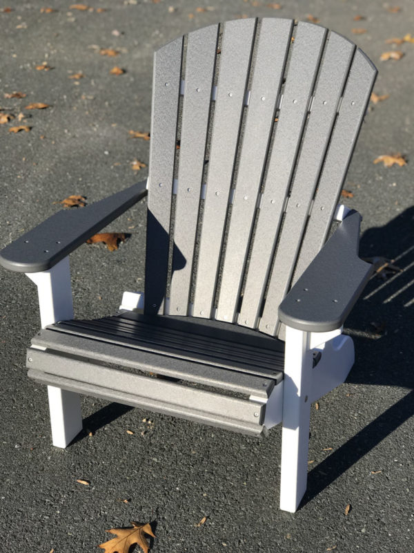 Adirondack Chair - Gray with White Legs