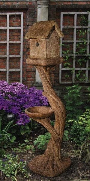 Tall Square Bird House and Feeder