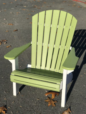 Adirondack Chair - Green with White Legs