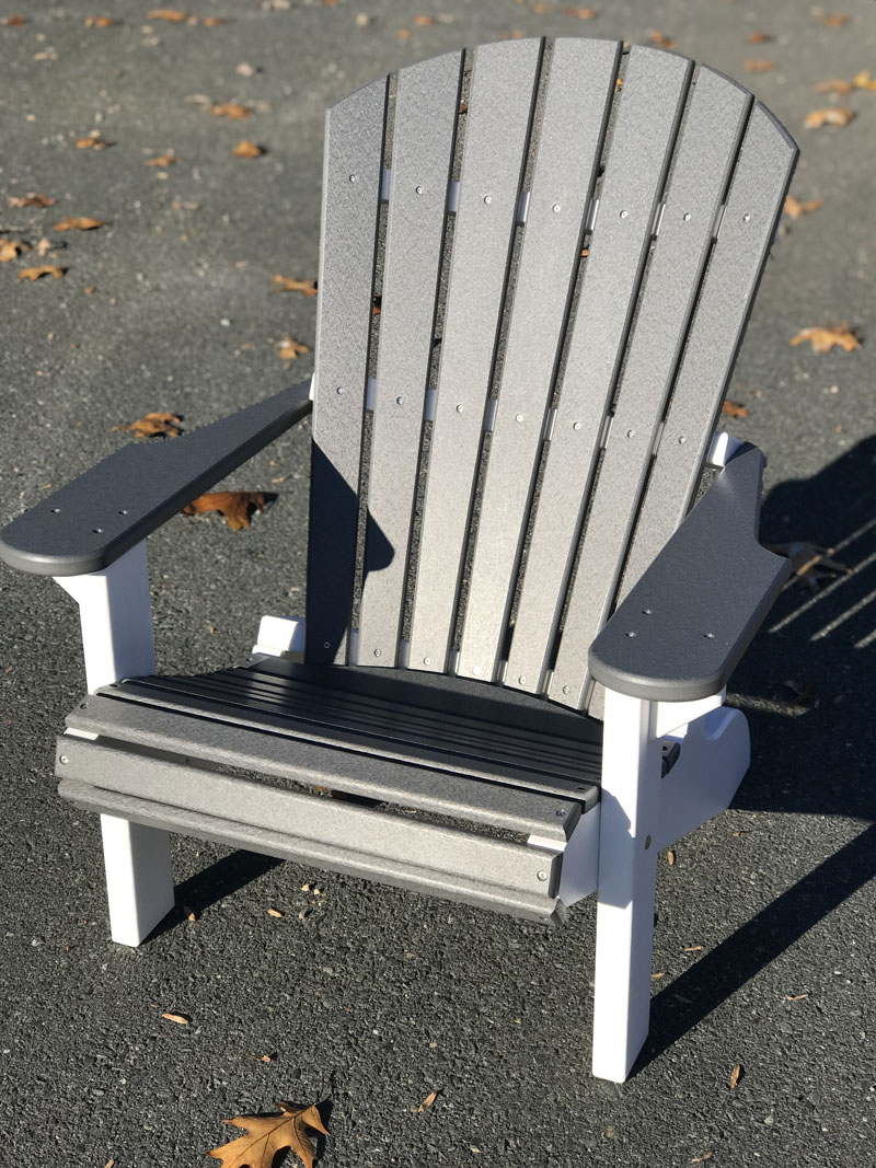 Adirondack Chair - Gray with White Legs
