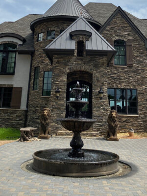 Massarelli Windley Key fountain shown with Massarelli Estate Lions